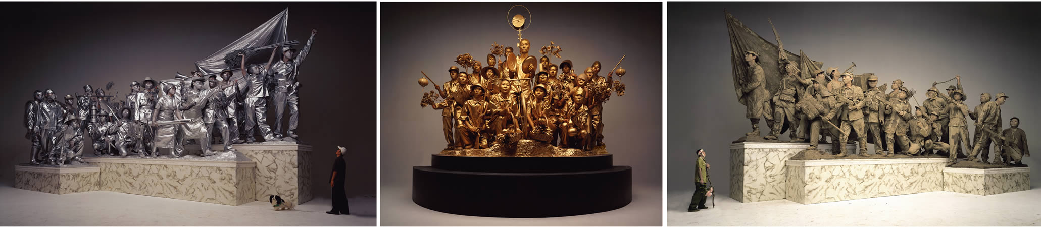 'Past, Present, Future' by Wang Qinsong. Models are smeared with mud and silver and golden powder, hinting at the changes that have taken place as China moves from revolutionary times into its age of modernisation. Image courtesy of AW Asia.